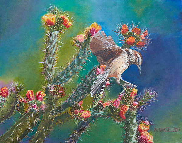 First Place - Cactus Wren in Cholla Blossoms